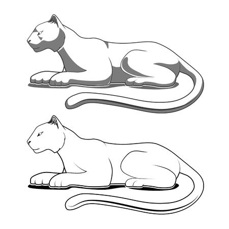 Panther emblema blanco y negro vector illustration Foto de archivo - 46506487