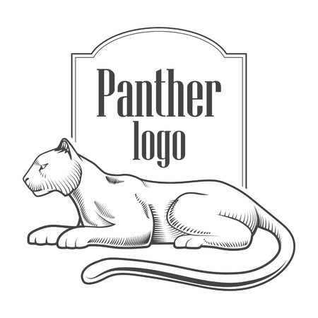 black and white panther: Panther logo engraving style emblem black and white vector illustration