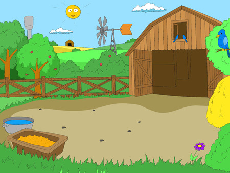 Cartoon farm color book children vector illustration Çizim