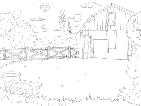 background house: Cartoon farm coloring book black and white outline children vector illustration