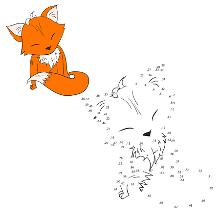 riddles: Connect the dots game fox cartoon doodle hand drawn  vector illustration Illustration