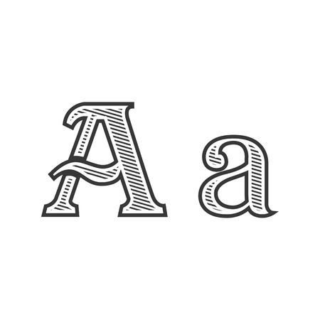old letter: Font tattoo engraving letter A black and white with shading Illustration