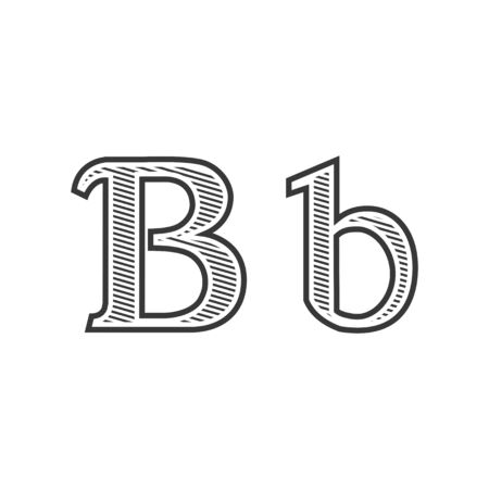 pectoral: Font tattoo engraving letter B black and white with shading