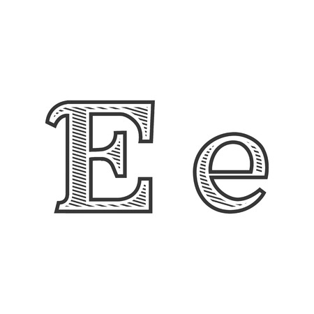 e white: Font tattoo engraving letter E black and white with shading