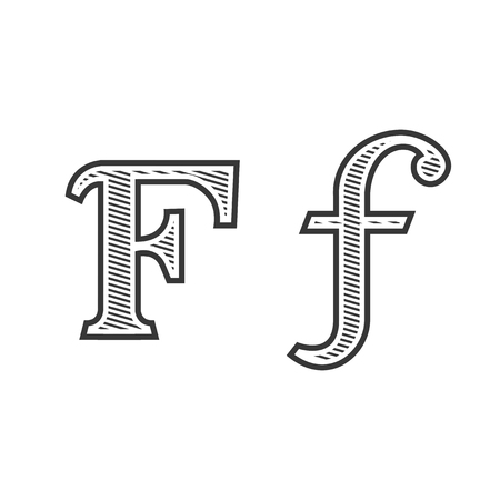 Font tattoo engraving letter F black and white with shading Illustration