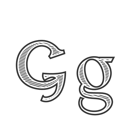 Font tattoo engraving letter G with black and white shading other version