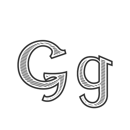 Font tattoo engraving letter G black and white with shading
