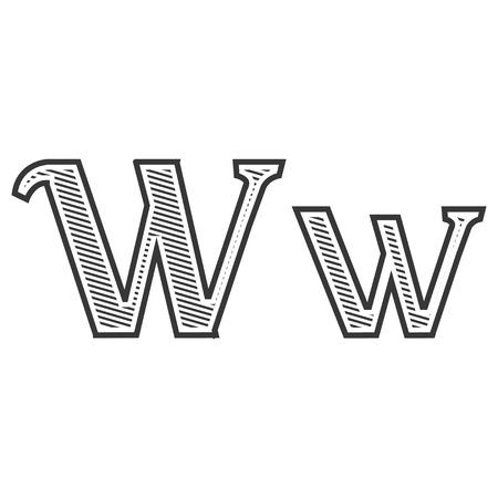 letter w: Font tattoo engraving letter W black and white with shading Illustration