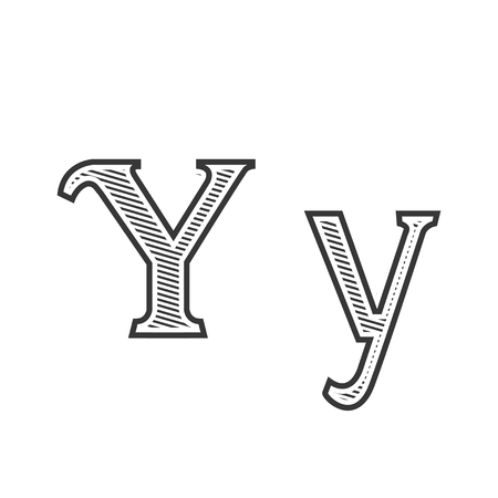 y ornament: Font tattoo engraving letter Y black and white with shading Illustration