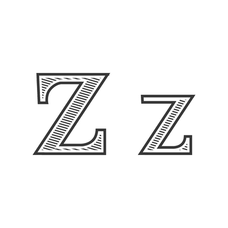 pectoral: Font tattoo engraving letter Z black and white with shading