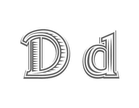 capital letter: Font tattoo engraving letter D black and white vector illustration