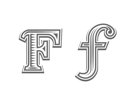 Font tattoo engraving letter F black and white vector illustration Illustration