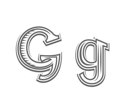 Font tattoo engraving letter G black and white vector illustration