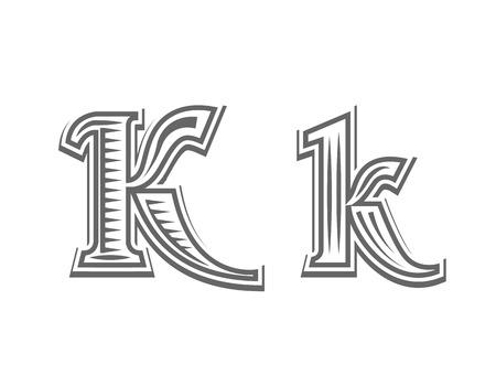 Font tattoo engraving letter K black and white vector illustration Illustration