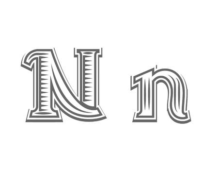capital letter: Font tattoo engraving letter N black and white vector illustration