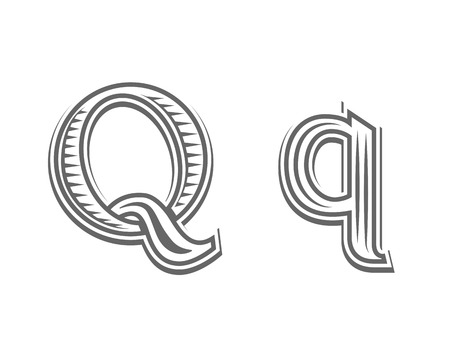 pectoral: Font tattoo engraving letter Q black and white vector illustration