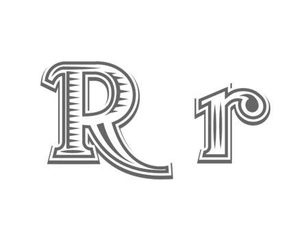 old letter: Font tattoo engraving letter R black and white vector illustration
