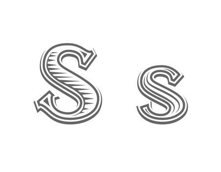 Font tattoo engraving letter S black and white vector illustration Illusztráció