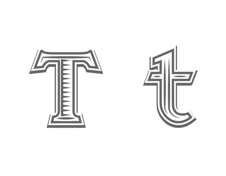 Font tattoo engraving letter T black and white vector illustration