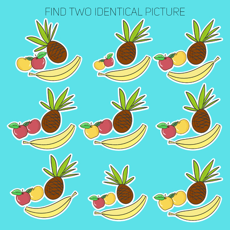 similar images: Educational game for children find two similar images doodle hand drawn cartoon vector illustration