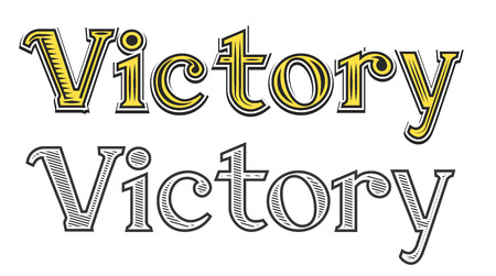 curlicues: Tattoo engraving word Victory black and white color