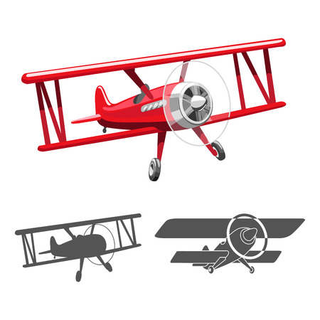 event: Airplane old   red color vector colorful illustration