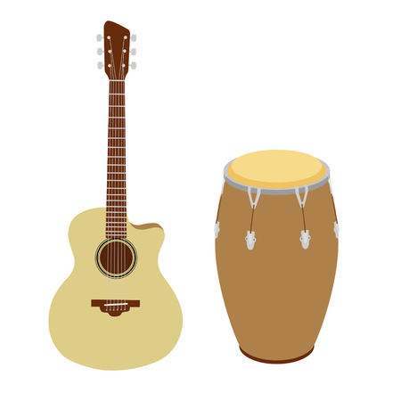 coloful: Guitar and conga drum  coloful musical instruments vector illustration