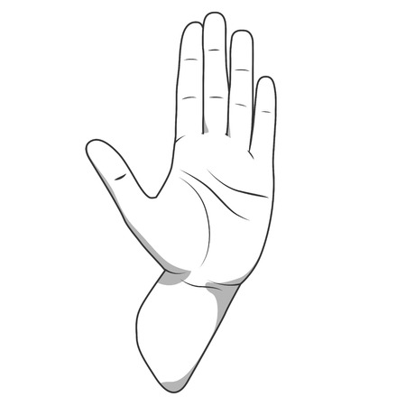 stop gesture: Palm hand stop gesture black and white color vector illustration Illustration