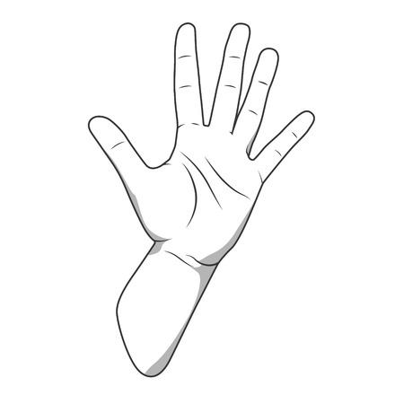 Numero della mano Palm cinque gesto di colore bianco e nero illustrazione vettoriale