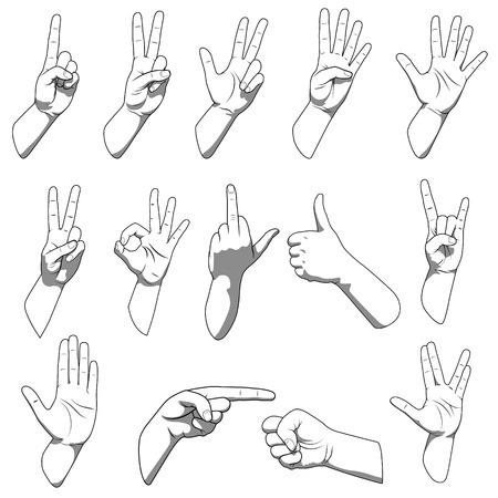 ok: Different hands gestures black and white color vector illustration