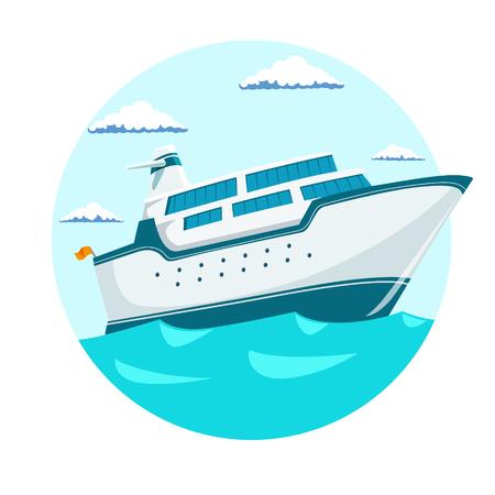 cruise liner: Cruise liner ship emblem blue color vector illustration