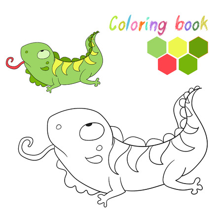 iguana: Coloring book iguana kids layout for game doodle cartoon hand drawn vector illustration