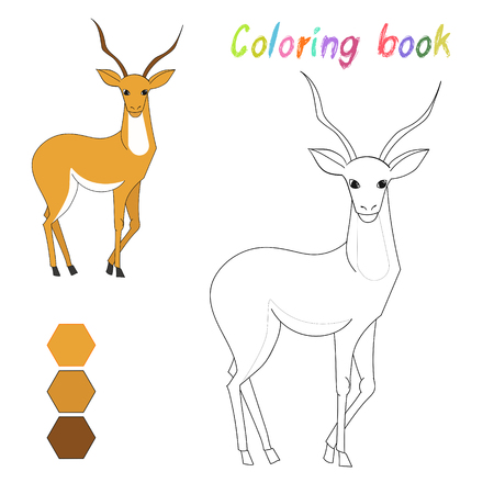 riddles: Coloring book gazelle kids layout for game doodle cartoon hand drawn vector illustration