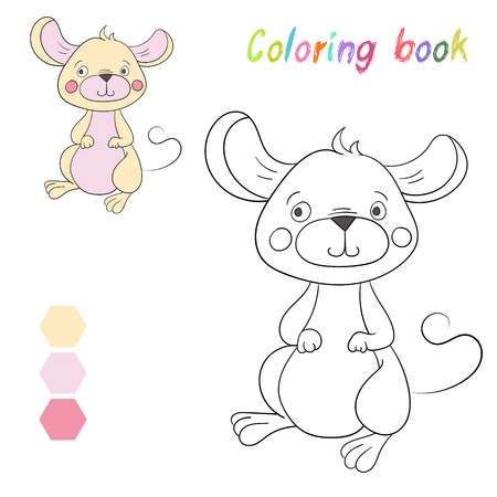 Coloring Book Mouse Kids Layout For Game Doodle Cartoon Hand Drawn Vector Illustration