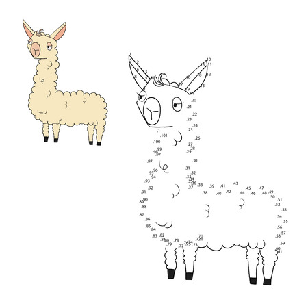 joining the dots: Connect the dots game lama doodle cartoon hand drawn vector illustration