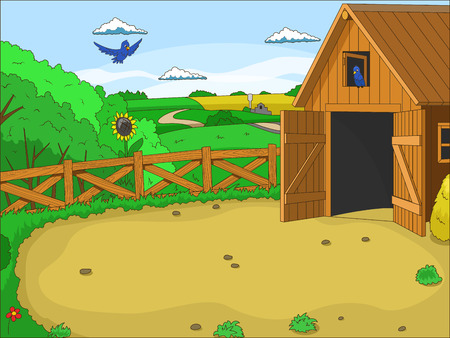 farm landscape: Farm cartoon educational colorfull artwork vector illustration