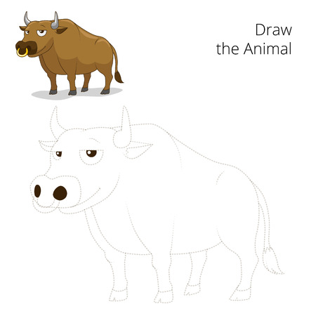 have fun: Draw the animal bull educational game vector illustration