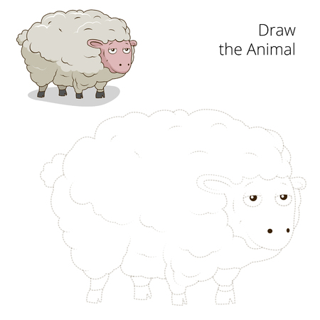 have fun: Draw the animal sheep educational game vector illustration