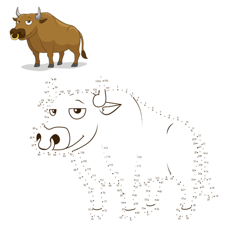 Connect the dots to draw game bull vector illustration