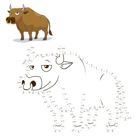 Verbind de stippen om het spel stier vector illustratie trekken