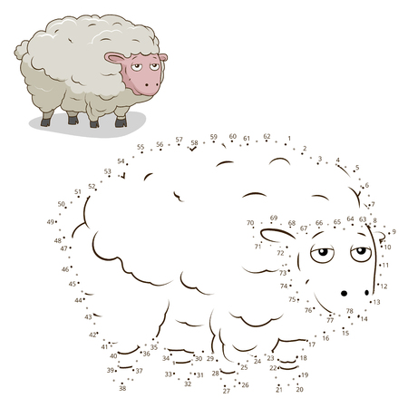 Connect the dots to draw game sheep vector illustration