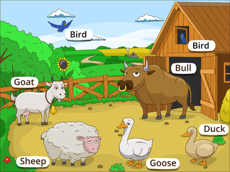 background wood: Farm animals with names cartoon educational illustration Illustration