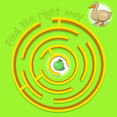 apple character: Game labyrinth find a way duck vector illustration Illustration
