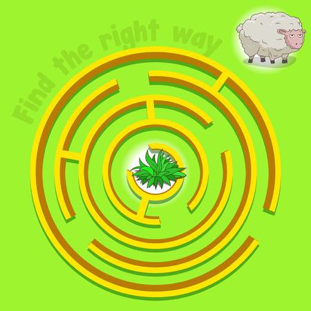 cartoon grass: Game labyrinth find a way sheep vector illustration