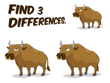 differences: Find differences game bull cartoon colorful vector illustration Illustration