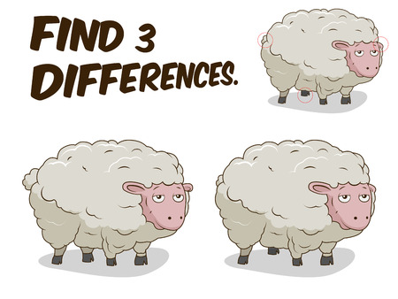 Find differences game sheep cartoon colorful vector illustration Ilustração