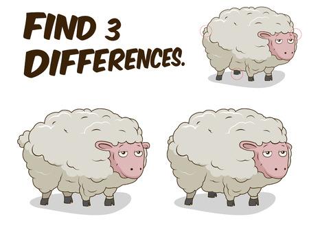 Zoek de verschillen spel schapen cartoon kleurrijke vector illustratie Stock Illustratie