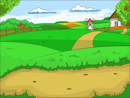 farm structures: Farm cartoon colorful educational game background vector illustration