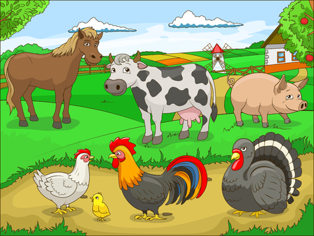 farm landscape: Farm cartoon educational game colorful vector  illustration