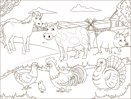 Coloring book farm cartoon educational game vector illustration 向量圖像